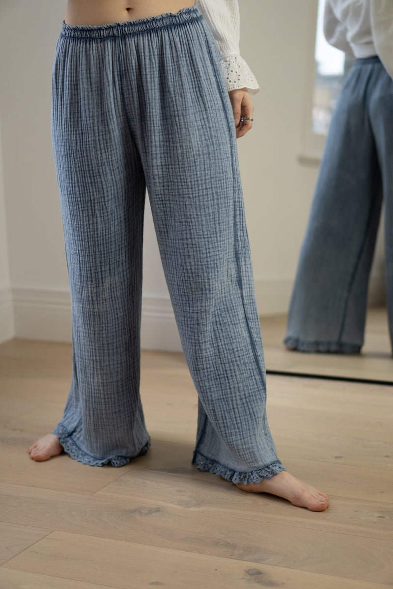 Cheesecloth Anglaise Trim Trousers in Denim Blue