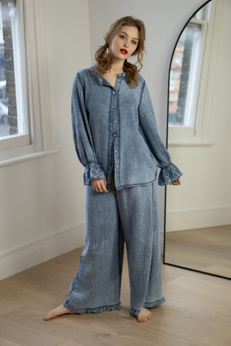 Cheesecloth Anglaise Trim Blouse in Denim Blue