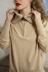 Wide Collar Zip Lounge Set in Beige