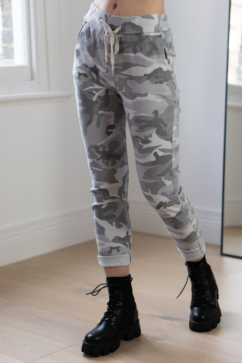 Camo Joggers In Light Grey