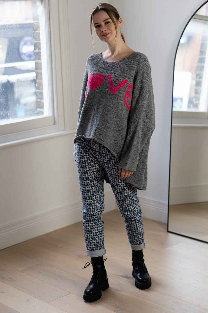 Love High Low Knitted Jumper in Grey/Pink