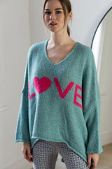 Love High Low Knitted Jumper in Pastel Green/Pink