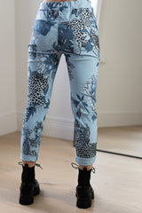 Floral Stretch Joggers in Blue