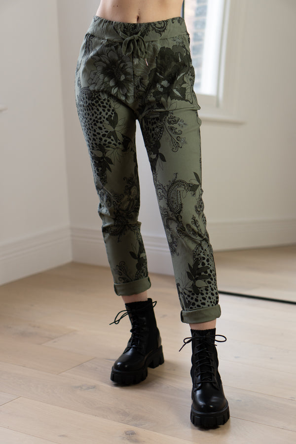 Floral Stretch Joggers in Khaki