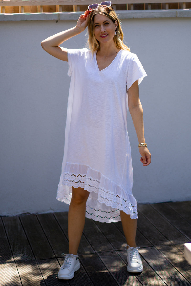 V-Neck High Low T-Shirt Dress in White