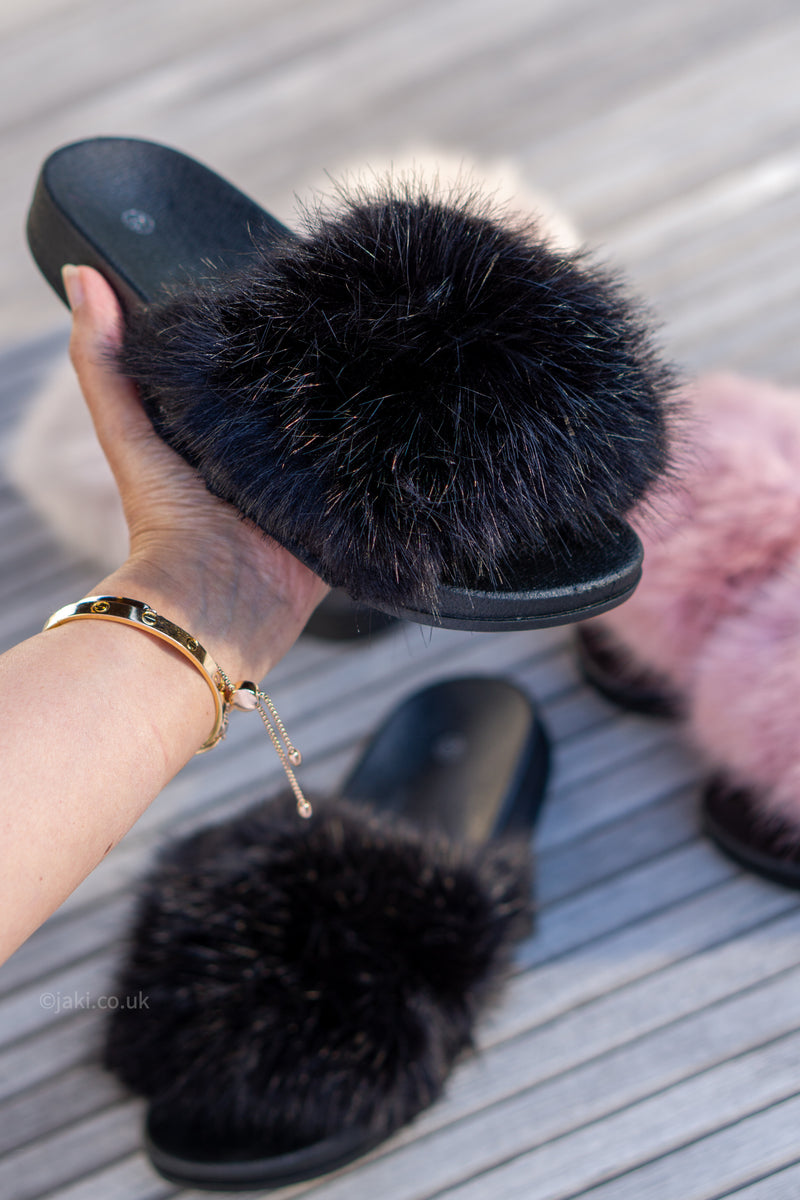 Faux Fur Sliders (Pink/Beige/Black)