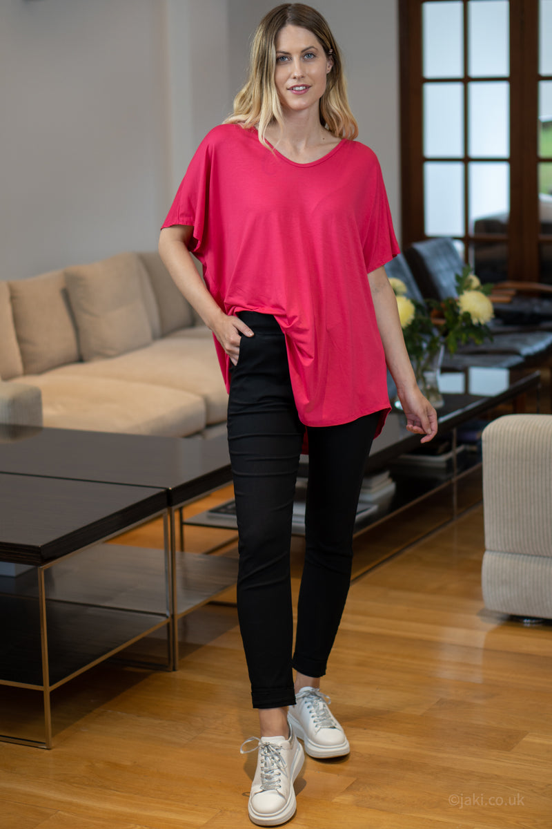 V-Neck Oversized T-Shirt in Hot Pink