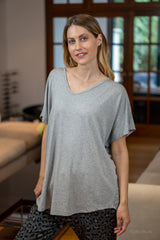 V-Neck Oversized T-Shirt in Grey