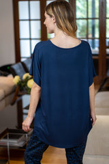 V-Neck Oversized T-Shirt in Navy