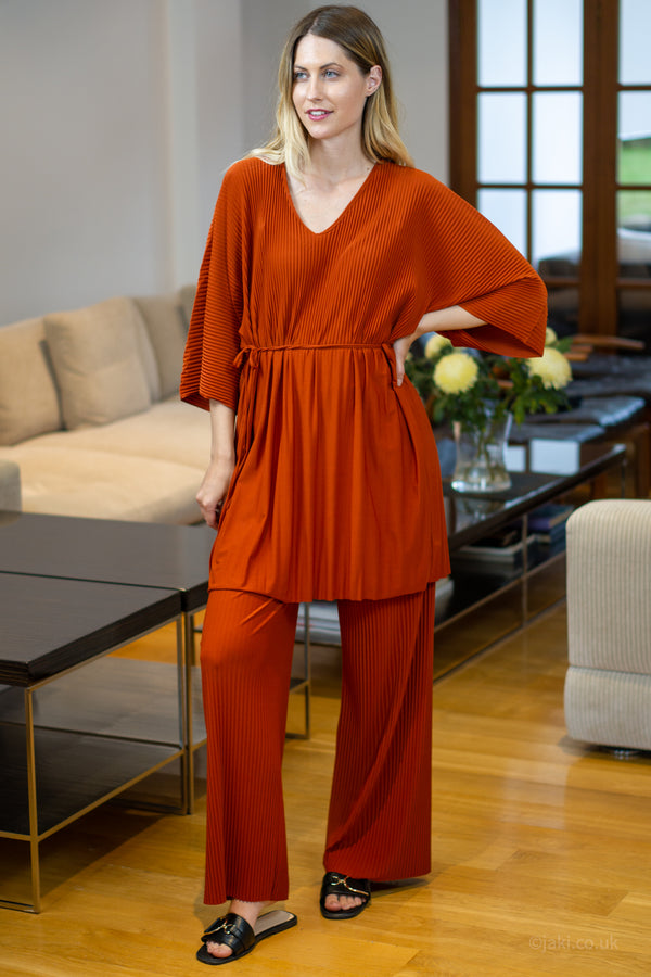 V-Neck Two Piece Lounge Set in Rust