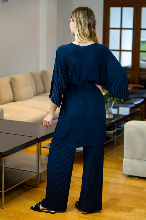 V-Neck Two Piece Lounge Set in Navy