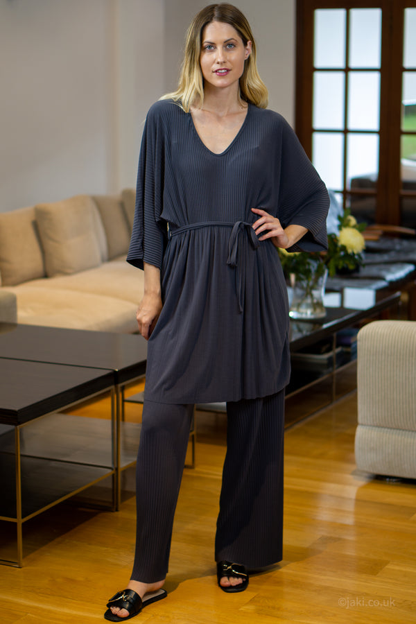 V-Neck Two Piece Lounge Set in Grey