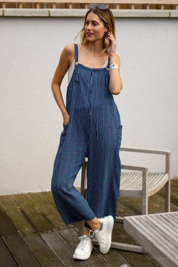 Cotton Dungarees in Navy