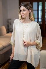 Chiffon Top with Necklace in Beige
