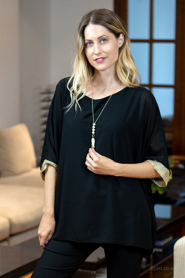 Chiffon Top with Necklace in Black