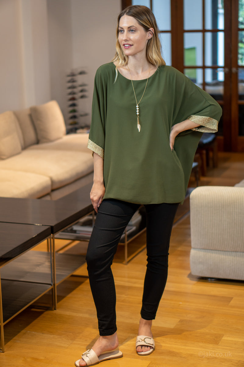 Chiffon Top with Necklace in Khaki