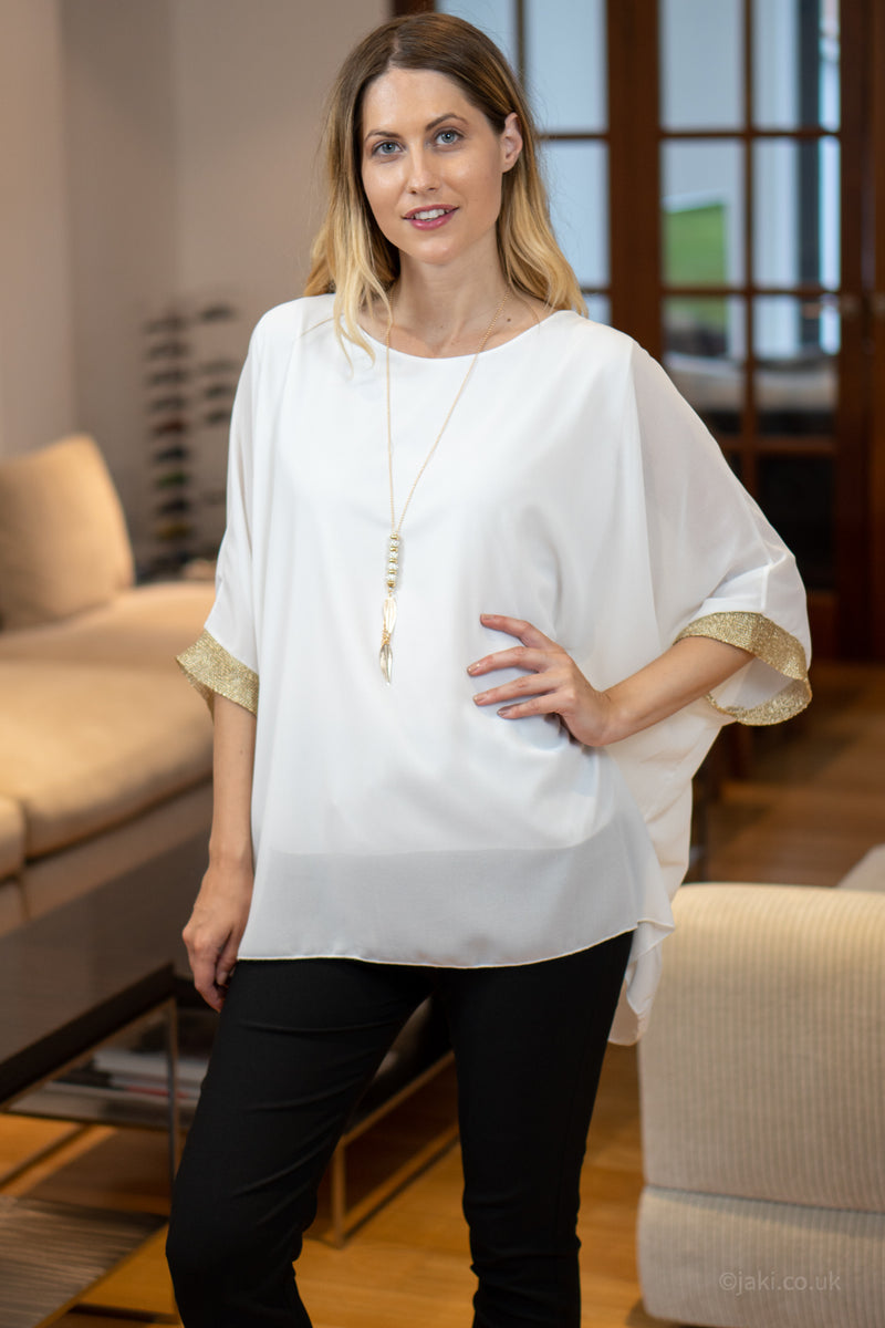 Chiffon Top with Necklace in Cream