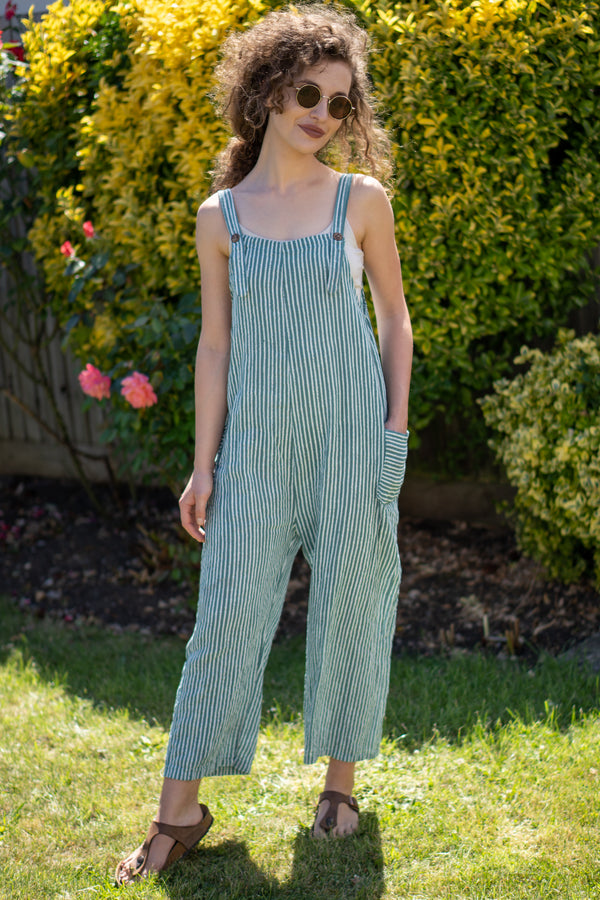 Cotton Dungarees in Sage