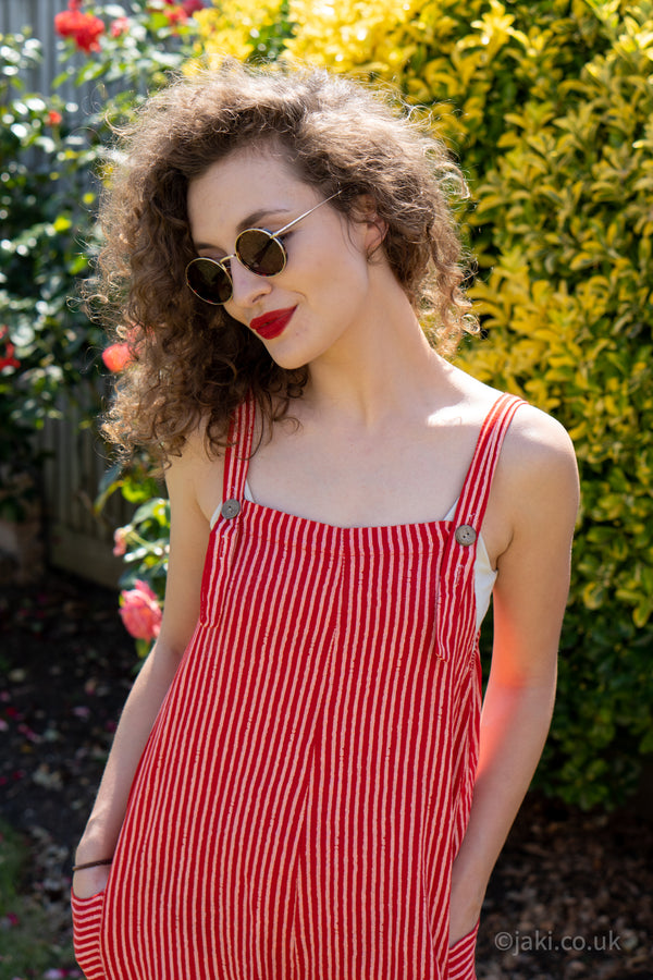Cotton Dungarees in Red
