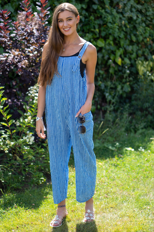 Cotton Dungarees in Royal Blue
