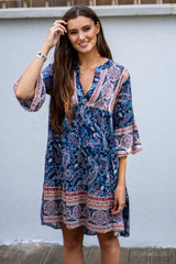 Paisley Print High Low Smock Dress in Navy