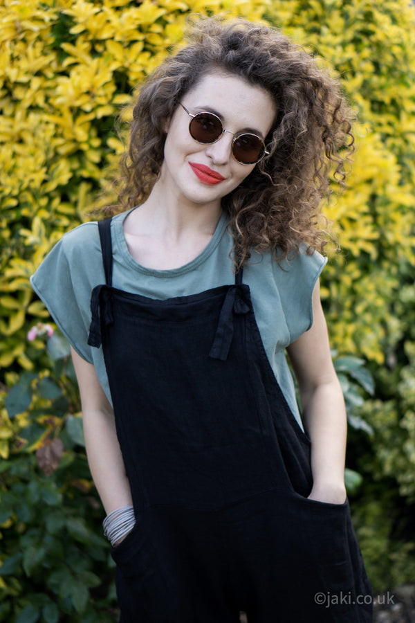 Linen Dungarees in Black
