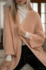 Ribbed Knit Long Open Cardigan in Dusty Pink