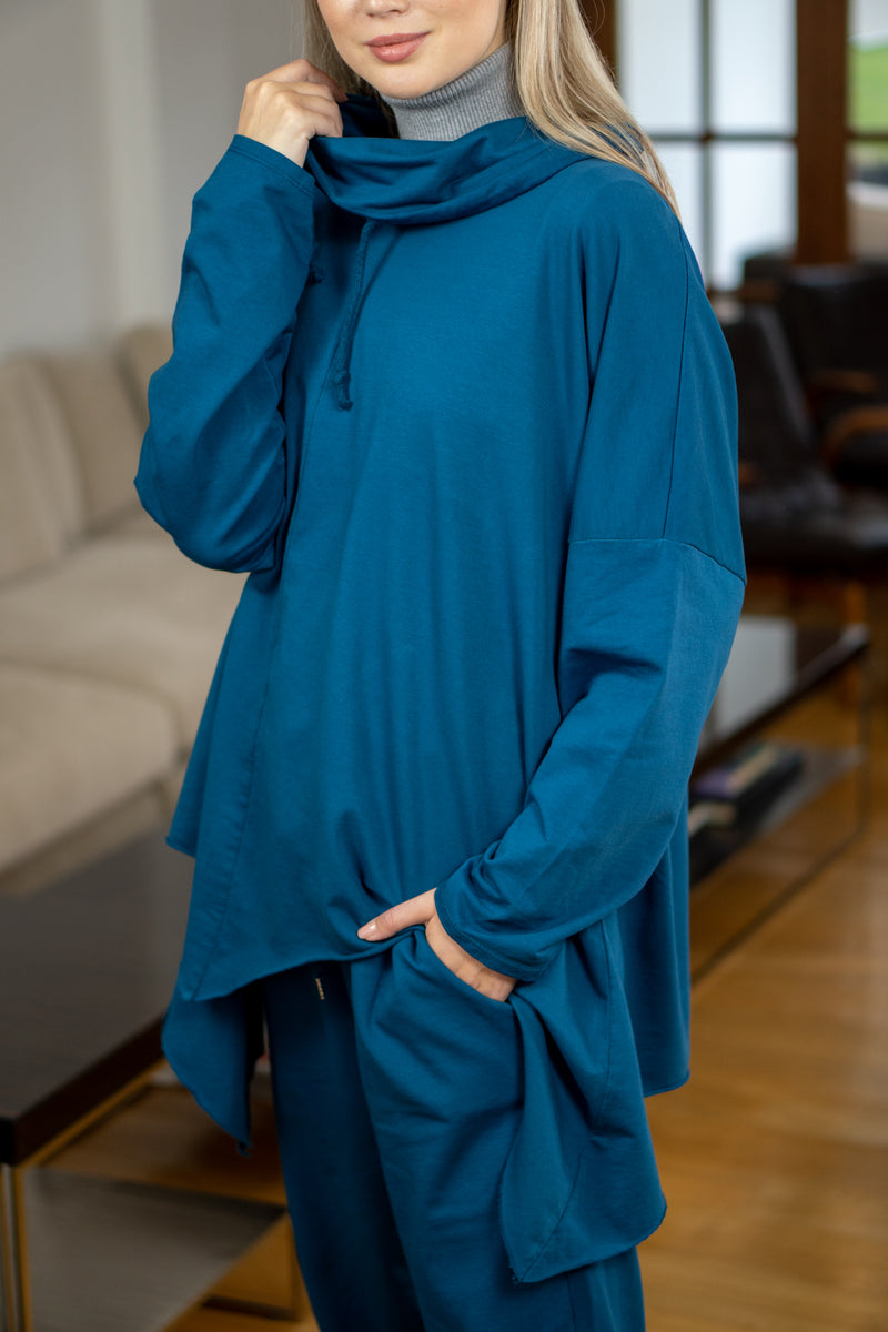 Cowl Neck Oversized Pullover in Petrol Blue