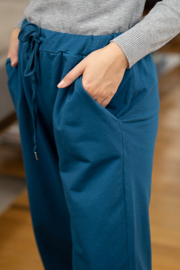 Loose Fit Joggers in Petrol Blue