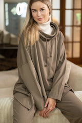 Cowl Neck Oversized Pullover in Mocha