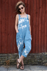 Splash Jersey Cotton Dungarees in Denim Blue