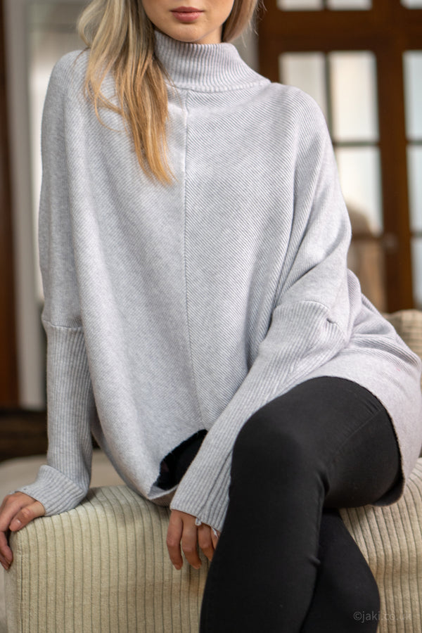 High Neck Soft Knit Jumper in Light Grey