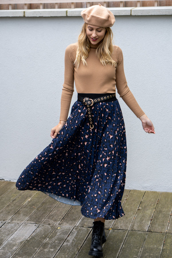 Leopard Print Pleated Midi Skirt in Navy