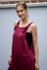 Jersey Cotton Boyfriend Dungarees in Burgundy