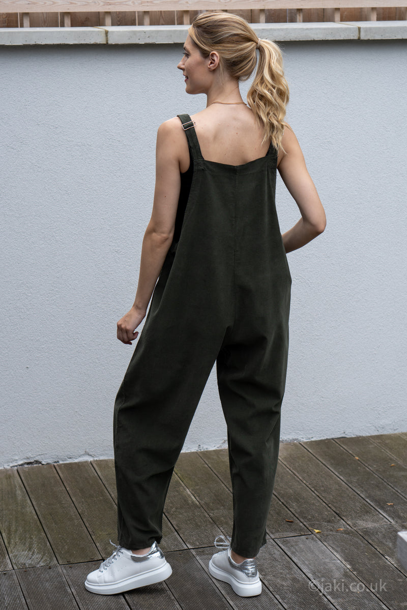 Corduroy Buckle Up Dungarees in Khaki