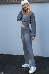 Wrap Jumper and Flared Trousers Knitted Lounge Set in Grey