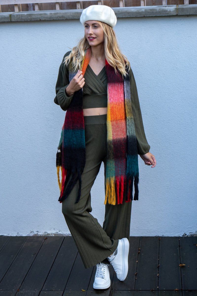 Wrap Jumper and Flared Trousers Knitted Lounge Set in Khaki