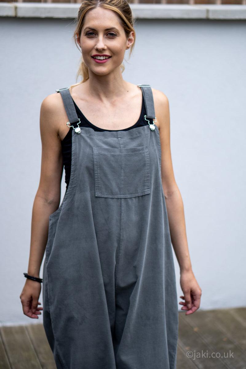 Corduroy Buckle Up Dungarees in Grey