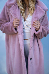 Super Oversized Faux Fur Coat in Light Pink