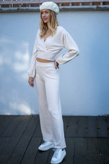 Wrap Jumper and Flared Trousers Knitted Lounge Set in Cream