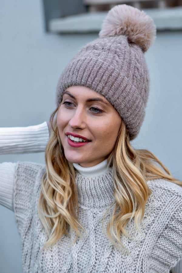Cable Knit Faux Fur Bobble Hat In Beige