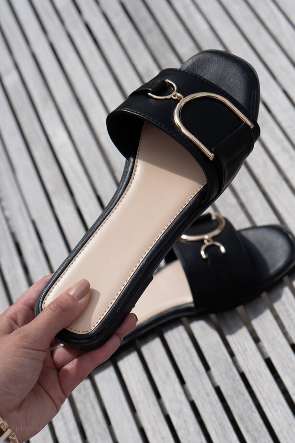 Buckle Flats in Black