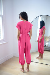 Harem Jumpsuit In Hot Pink