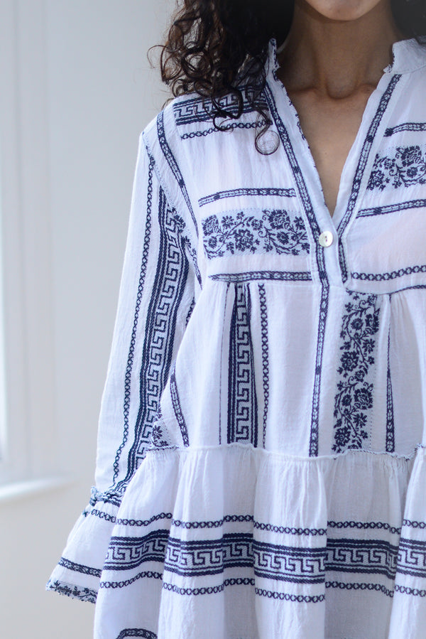 Floral Aztec Cotton Smock Dress In Navy