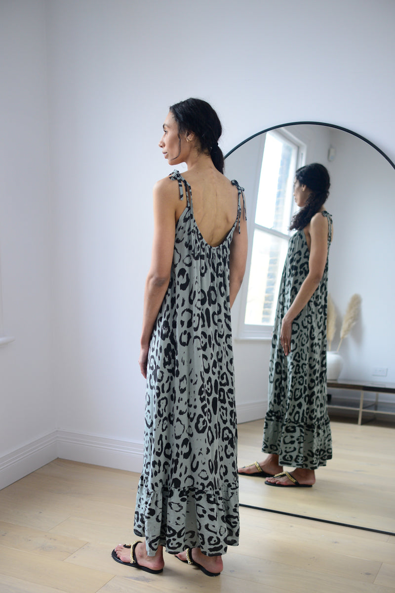 Leopard Tie Up Maxi Dress In Khaki