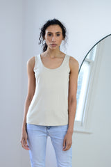 Sleeveless Vest Top In Beige