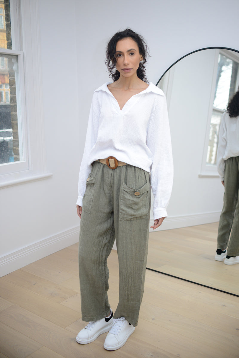Linen Trousers with Belt In Khaki