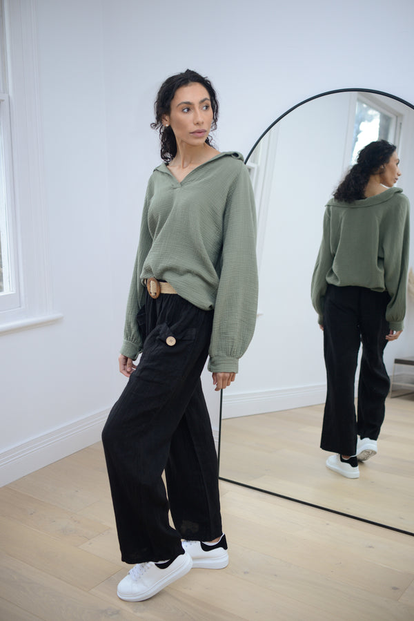 Linen Trousers with Belt In Black