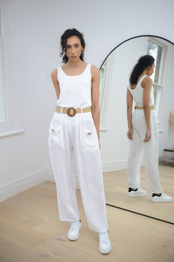 Linen Trousers with Belt In White