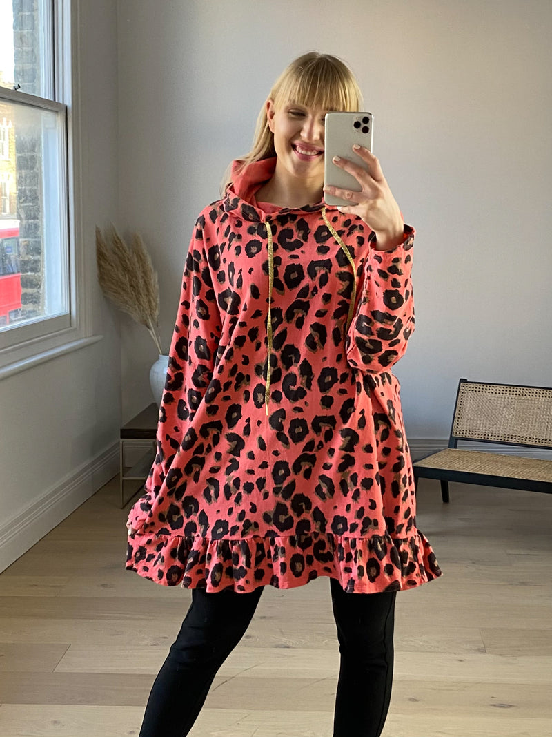 Leopard Frill Hoodie Dress in Coral